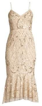 Aidan Mattox Beaded Sleeveless Midi Dress
