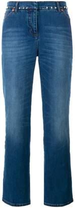 Valentino Blue Rockstud Mid Rise Kick flare jeans