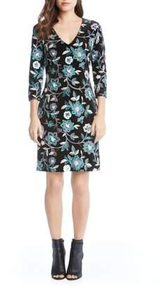 Karen Kane Embroidered Velvet Dress