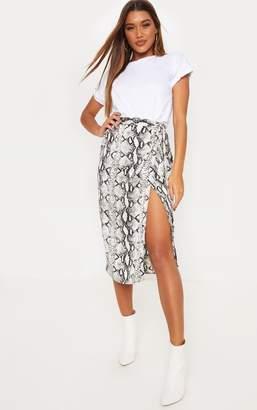 PrettyLittleThing Snakeskin Satin Printed Wrap Midi Skirt