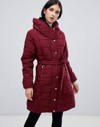 AX Paris belted padded jacket with faux fur lining