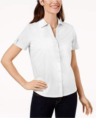 Karen Scott Petite Cotton Eyelet Shirt