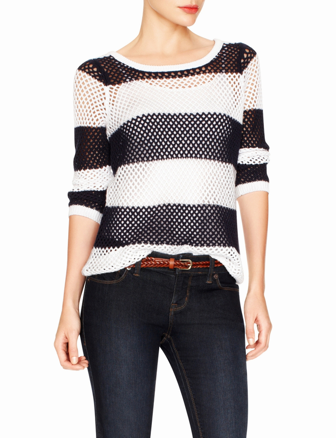 The Limited Striped Open Stitch Bateau Sweater