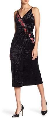 Moon River Floral Embroidered Velvet Midi Dress