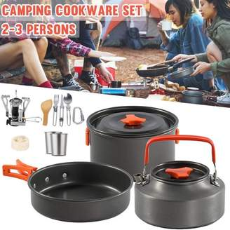 Kadell Camping Cooking 14 Piece Cookware Set Portable Bowl Pots Pans Stove Dinner Utensil