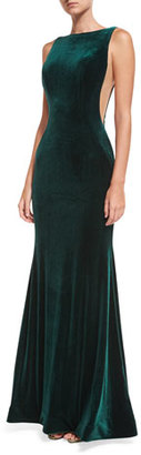 Jovani Bateau-Neck Velvet Nude-Side Evening Gown $495 thestylecure.com