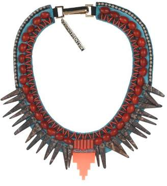 Fiona Paxton Hand Beaded Collar, Brass Chain and Beads on Leather of 43 cm