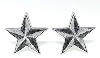 White Gold Finish Sterling Silver Black & White Diamond Star Shape Stud Earrings