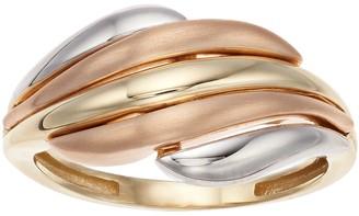 Tri-Tone 10k Gold Wave Ring