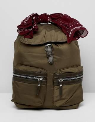 Pull&Bear nylon backpack in Khaki