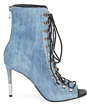 Balmain Women's Denim Lace-Up Peep-Toe Booties