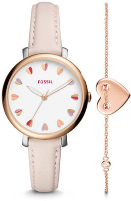 Fossil Jacqueline Three-Hand Pastel Pink Leather Watch and Jewelry Box Set