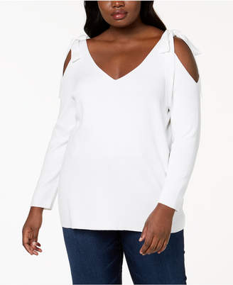 NY Collection Plus Size Cold-Shoulder Tunic Sweater