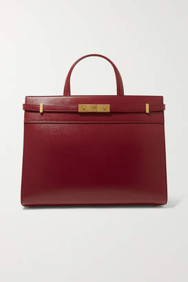 Saint Laurent Manhattan Small Leather Tote - Burgundy