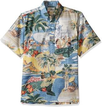 Reyn Spooner Men's Spooner Kloth Pullover Classic Fit Button Front Hawaiian Shirt Transpac
