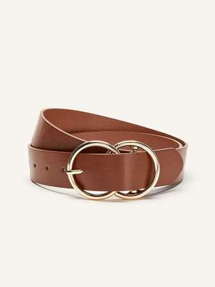 Faux Leather Double Buckle Belt