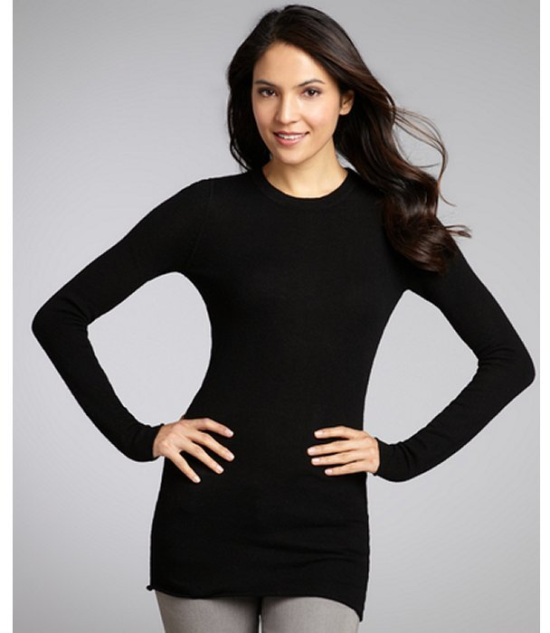 Autumn Cashmere black cashmere raw edge long sleeve sweater