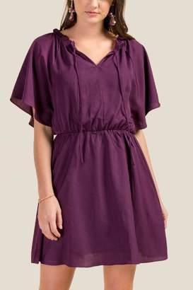 francesca's Claire Flutter Sleeve Dress - Purple