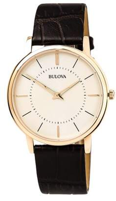 Bulova 97A126 Men's Classic Warm Grey Dial Rose Gold Plated Steel Brown Leather Strap Ultra-Slim Watch