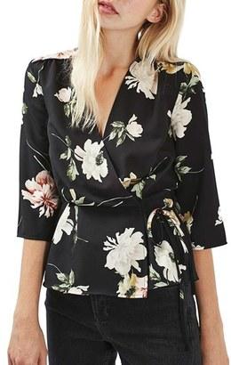 Women's Topshop Floral Wrap Blouse $65 thestylecure.com