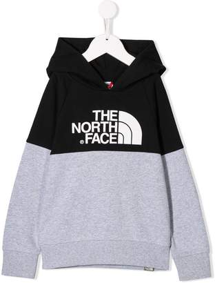 The North Face Kids logo colour-block hoodie