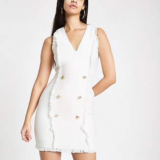 River Island White boucle mini bodycon dress