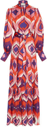 Alexis Dominica Printed Pleated Crepe Maxi Dress Size: XS