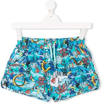 Kenzo TEEN sea creature logo print swim shorts