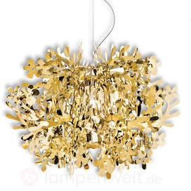 Detailreich gestaltete Hängeleuchte Fiorella, gold