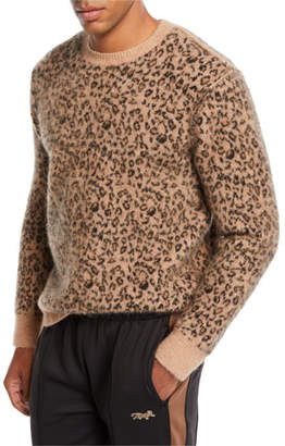 Ovadia & Sons Men's Leopard Pattern Jacquard Crewneck Sweater