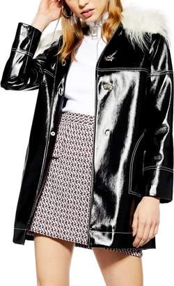 Topshop Vinyl Faux Fur Collar Coat
