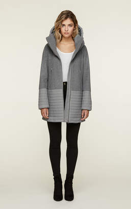 Soia & Kyo AVERY mixed media mid length coat with hood