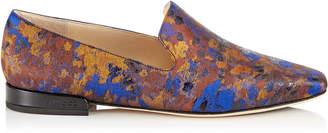 Jimmy Choo JAIDA FLAT Pop Blue Mix Painterly Brocade Square Toe Slippers