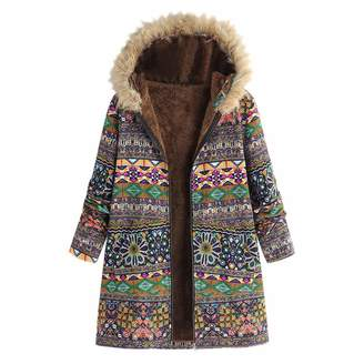 ThePass-Down Jackets ThePass Womens Coat Winter Oversize Vintage Floral Print Hooded Pockets Overcoat