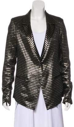 RtA Denim Long Sleeve Striped Blazer