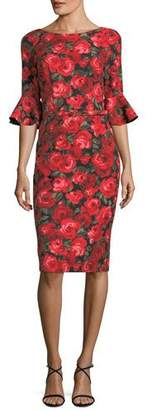 David Meister Floral-Print Trumpet-Sleeve Sheath Dress