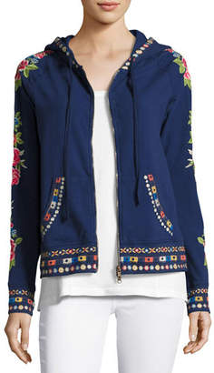 Johnny Was Rina Embroidered Hoodie, Petite