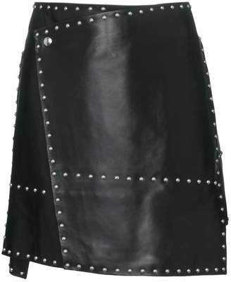 Helmut Lang studded leather mini skirt