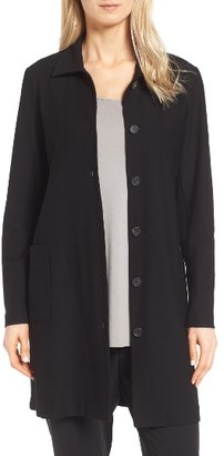 Petite Women's Eileen Fisher Washable Stretch Crepe Classic Collar Coat $179.99 thestylecure.com