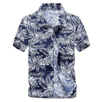 AiWoo dress Men's Summer Hawaiian Shirts Single Breasted Light Beach Shirts Short Sleeve Breathable Shirts,3X-Large,B