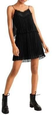 MANGO Sleeveless Lace Pleated Dress