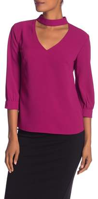 Trina Turk Opal Front Cutout Solid Blouse