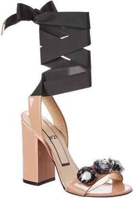 N°21 N21 Embellished Patent Ankle Wrap Sandal