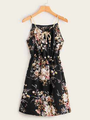 Shein Floral Print Tie Neck Halter Dress With Braided Strap