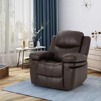 Noble House Classic Leather Gliding Recliner, Dark Brown