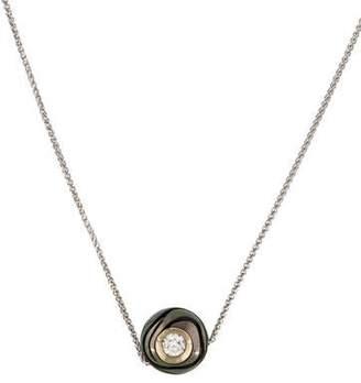 14K Diamond & Pearl Ball Pendant Necklace
