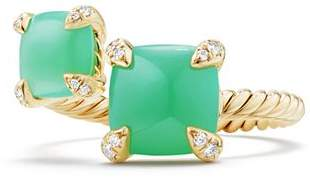 David Yurman Châtelaine Bypass Ring with Chrysoprase & Diamonds in 18K Gold