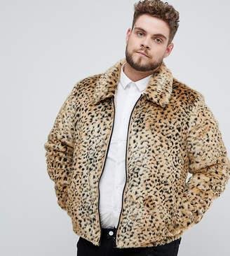 Asos DESIGN Plus faux fur western jacket in leopard print
