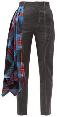 Charles Jeffrey Loverboy Draped Tartan Wool Tailored Trousers - Womens - Grey Multi