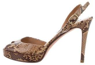 Ralph Lauren Purple Label Python Ankle Strap Sandals